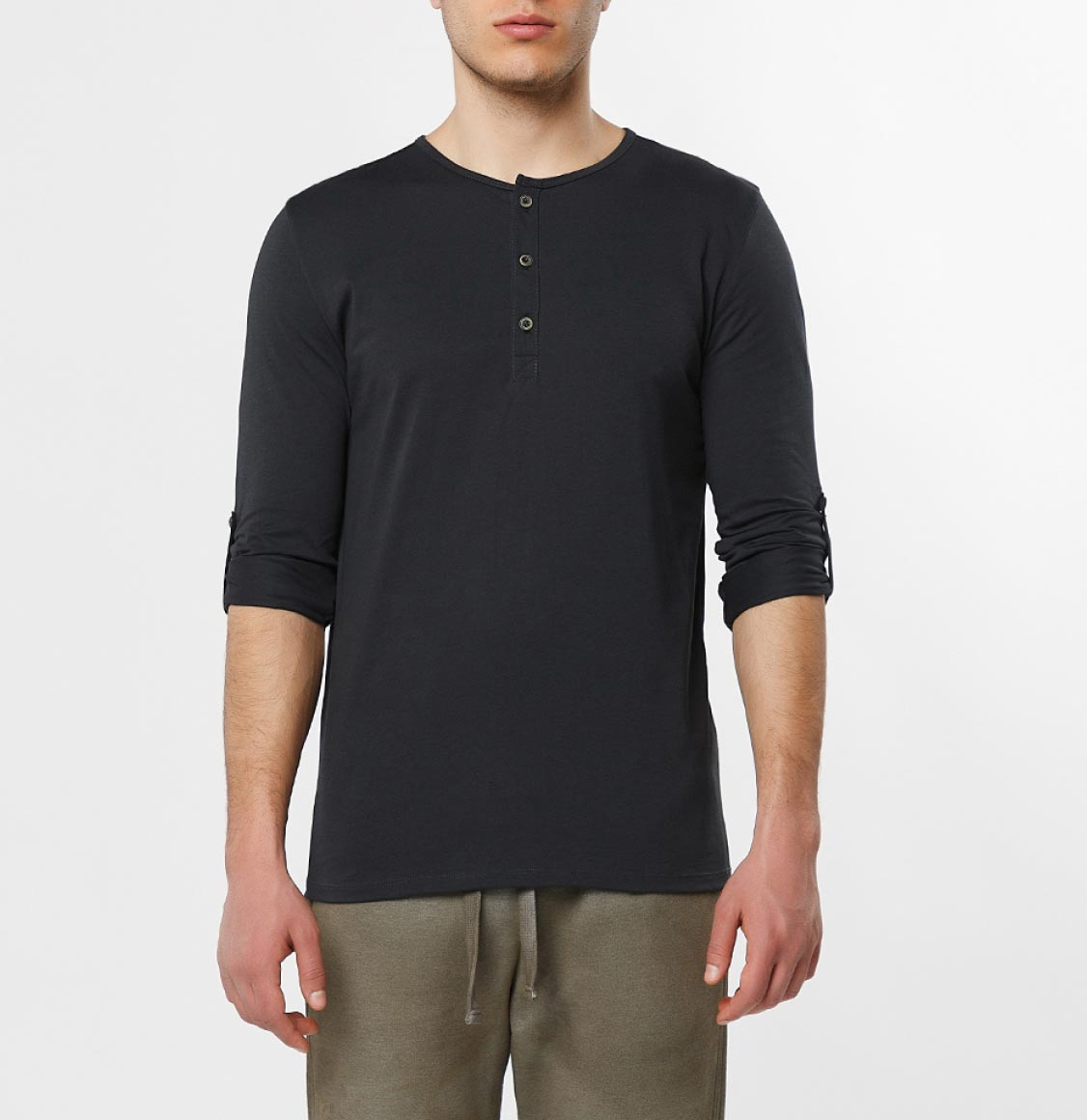 The Project Garments Henley Organic Cotton Long Sleeve T-shirt Charcoal Grey