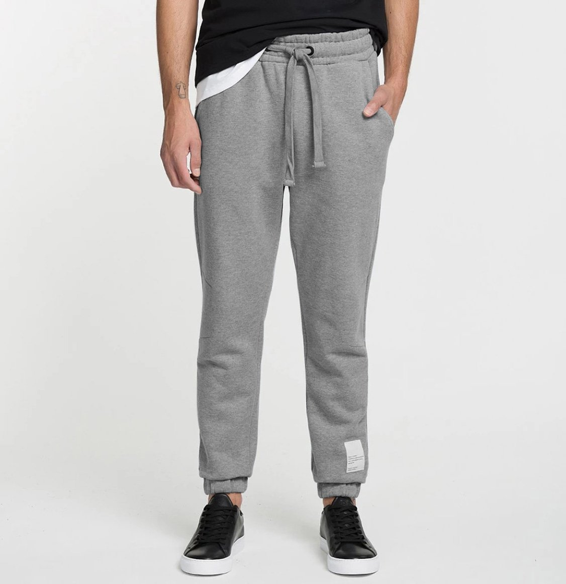The Project Garments Logomania Regular Fit Cotton Sweatpants Melange Grey