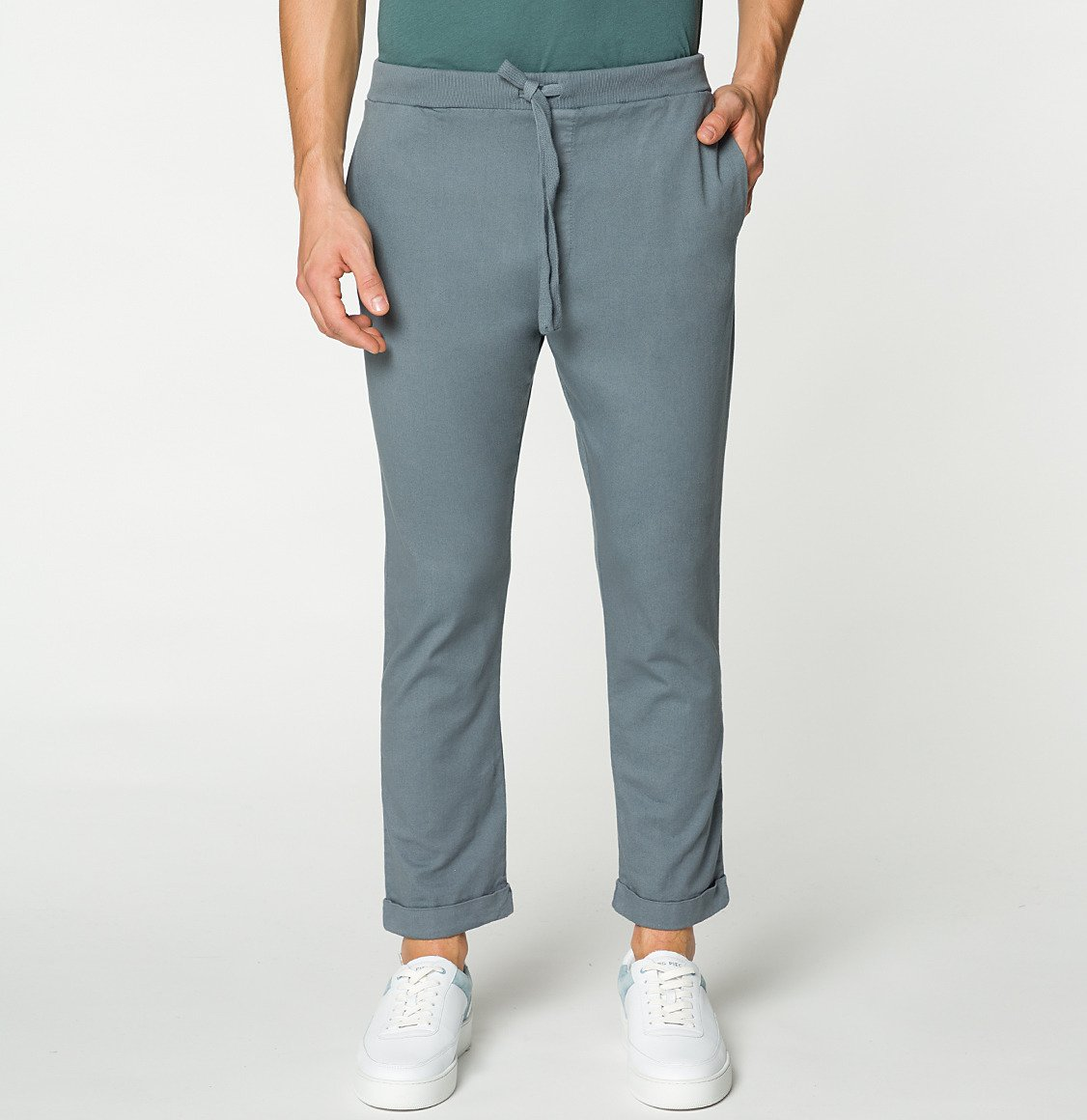 Stretch-Cotton Slim-Fit Drawstring Trousers Grey