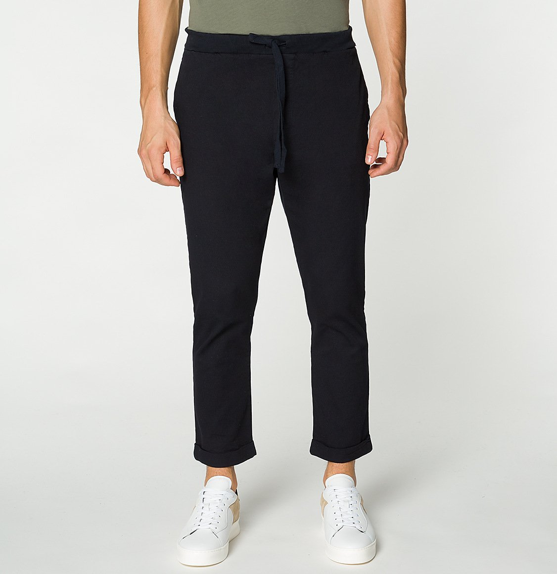 Stretch-Cotton Slim-Fit Drawstring Trousers Navy Blue