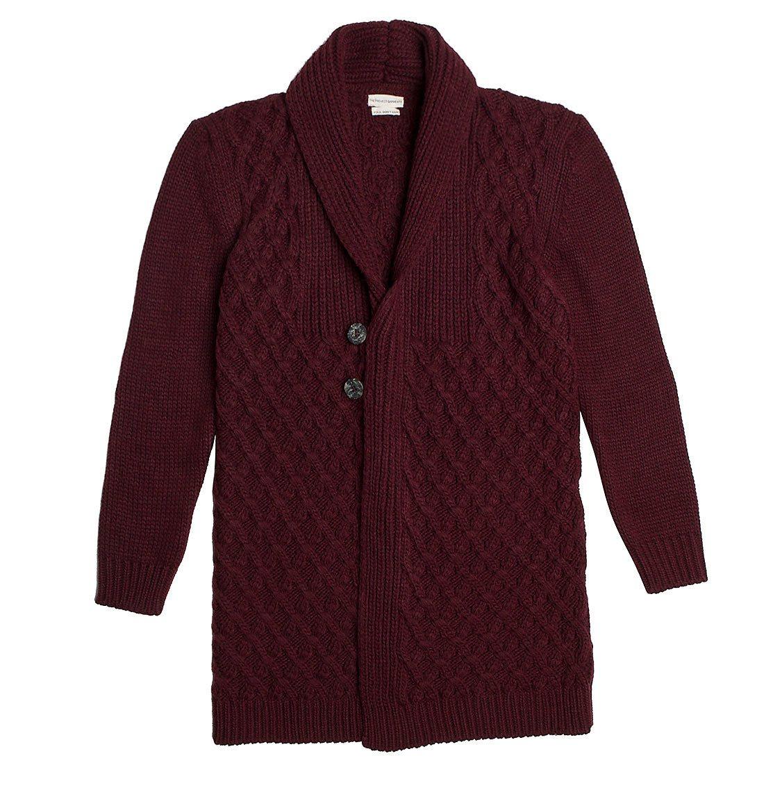 Two Button Shawl Collar Wool Blend Cardigan Burgundy