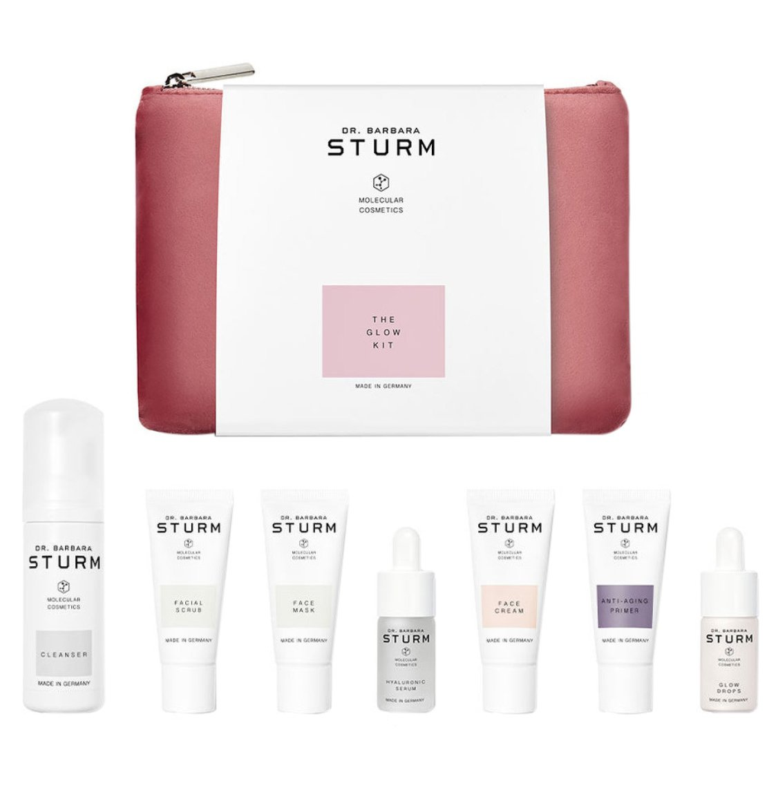 Dr. Barbara Sturm The Glow Kit Cleanser 50ml Facial Scrub 20ml Face Mask 20ml Hyaluronic Serum 10ml Brightening Face Cream 20ml Anti-Aging Primer 20ml Glow Drops 10ml