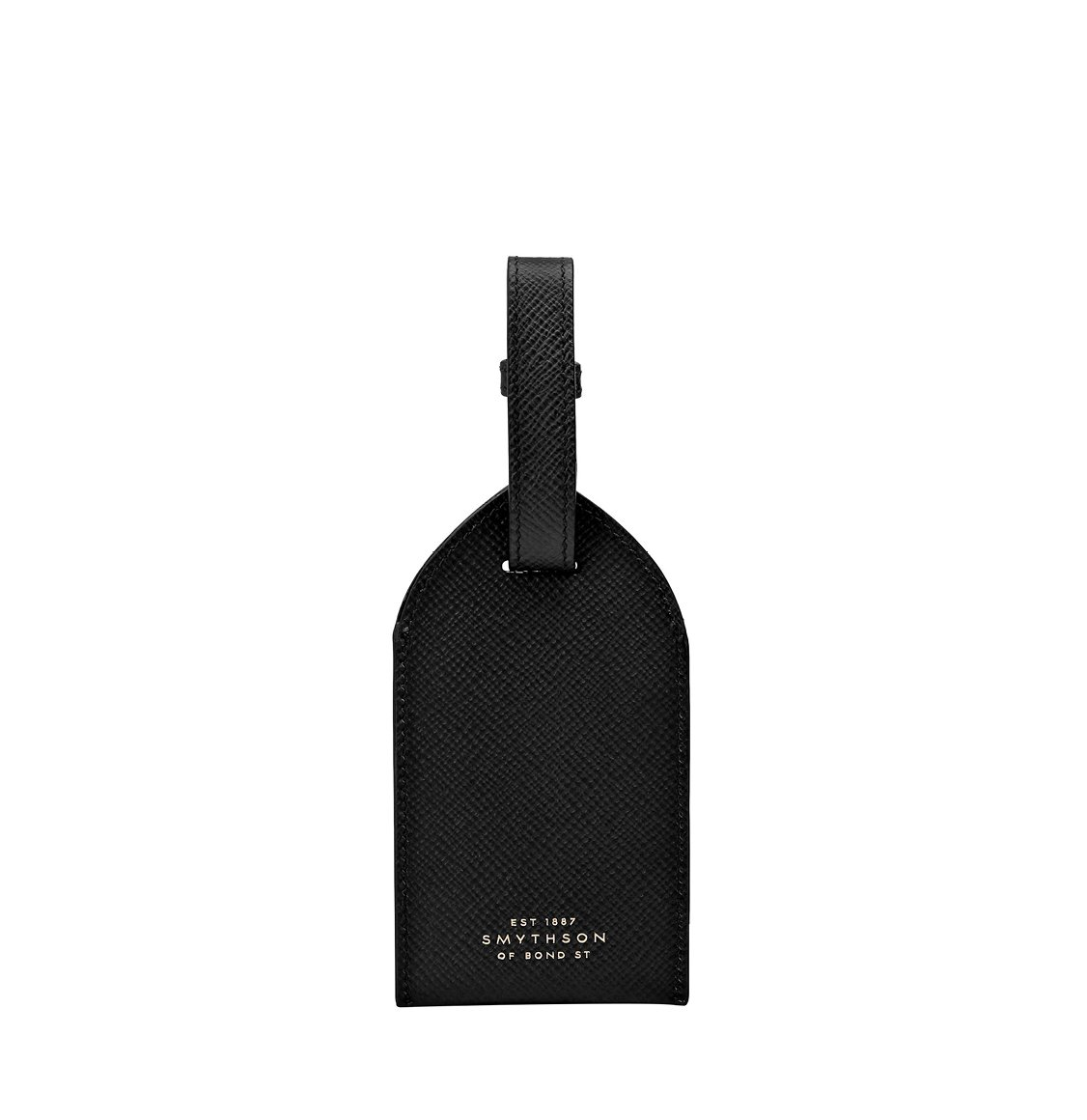 Smythson Panama Cross-Grain Leather Luggage Tag Black