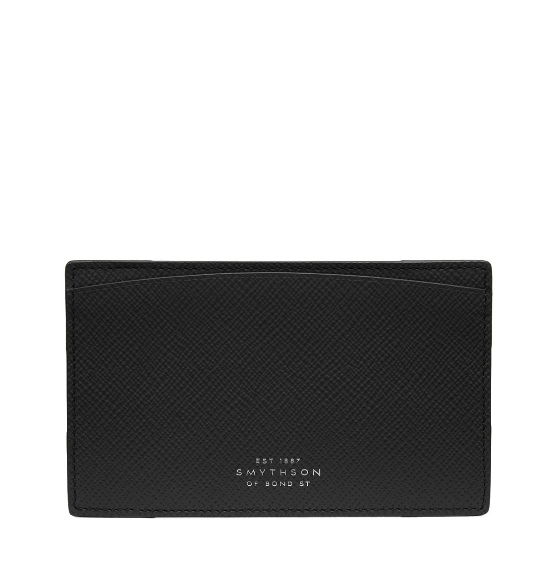 Smythson Panama Cross-Grain Leather Pocket Memo Black