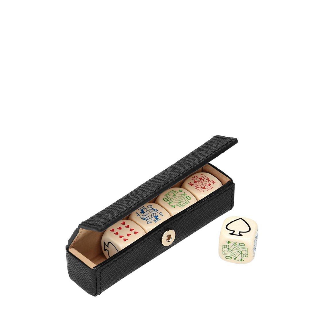 Smythson Panama Cross-Grain Leather Panama 5 Poker Dice