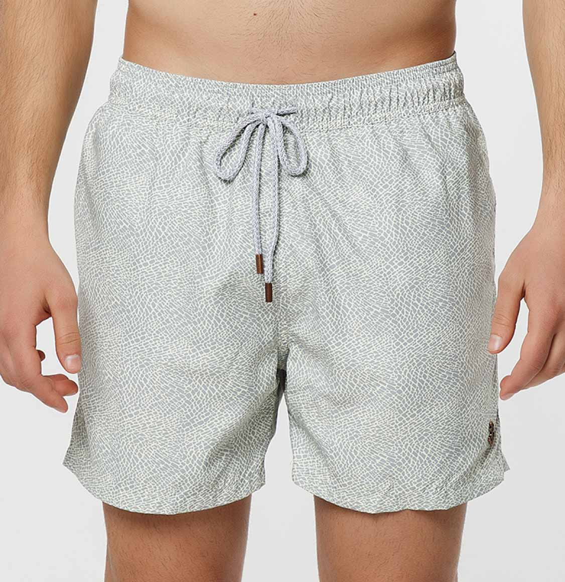 Retromarine Elephant Skin Gray Cream Swim Shorts