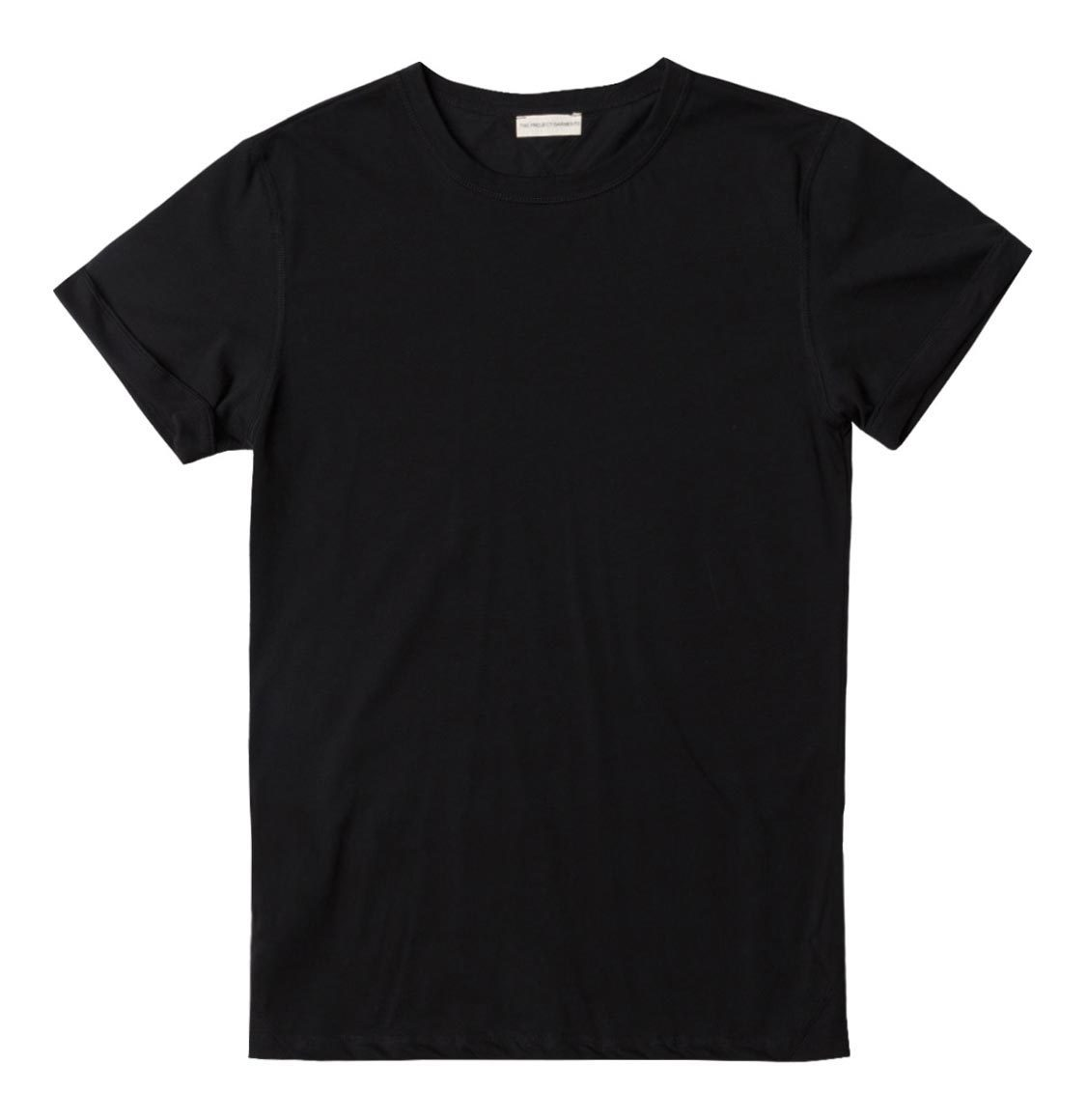 The Project Garments Crew Neck Ribbed T-Shirt Black