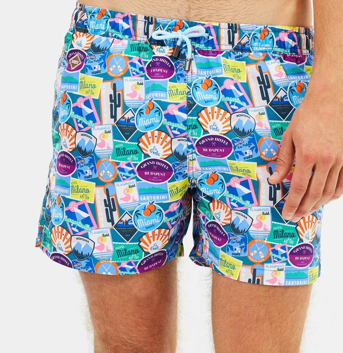 Nikben City Sticker Swim Shorts Blue