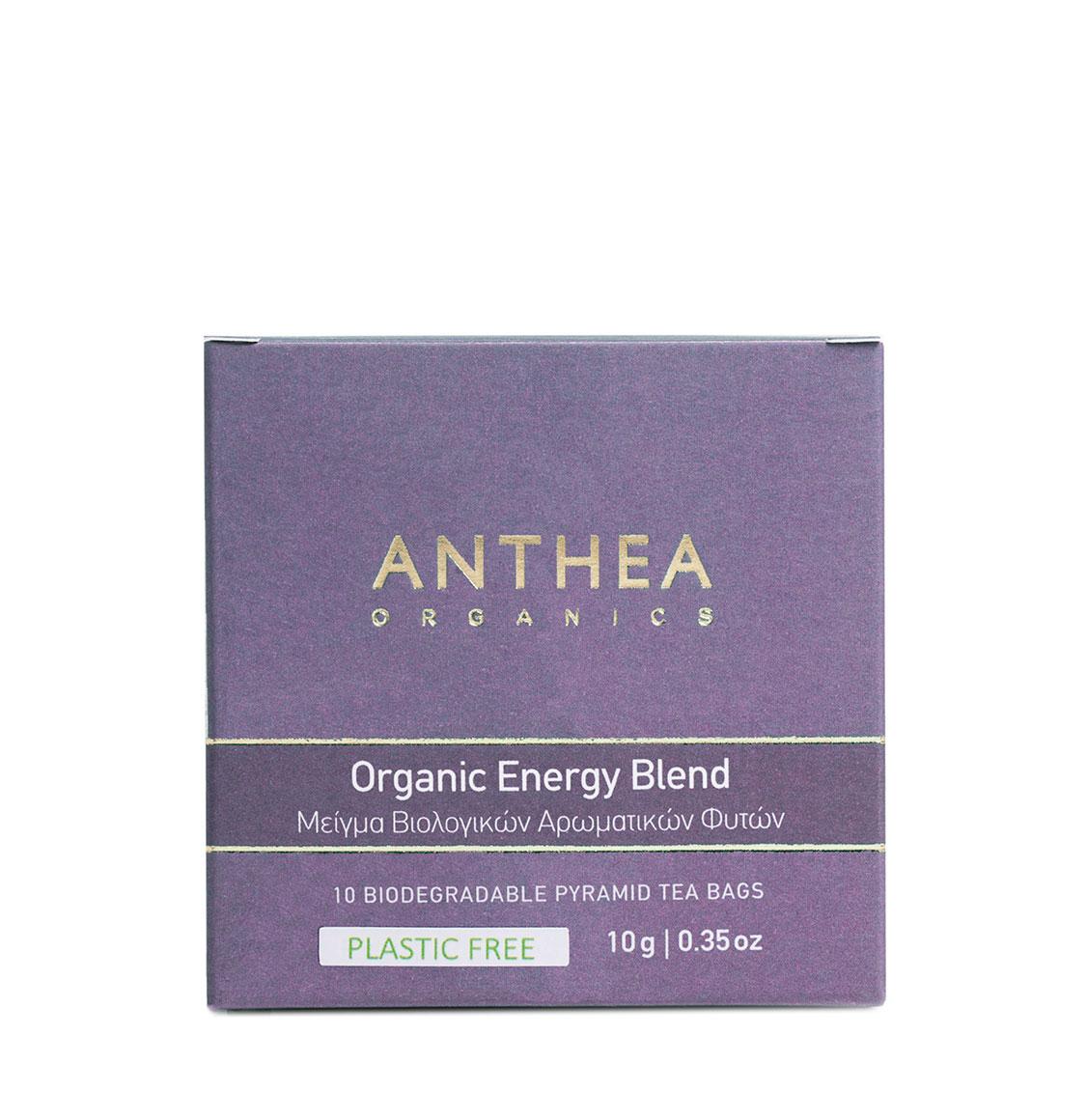 Anthea Organics Βιολογικό Μείγμα Βοτάνων Energy Blend 10 Plastic Free Pyramid Tea Bags