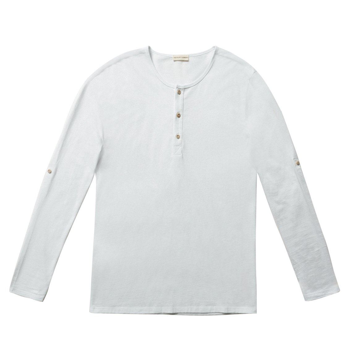 The Project Garments Henley Organic Cotton Long Sleeve T-shirt White