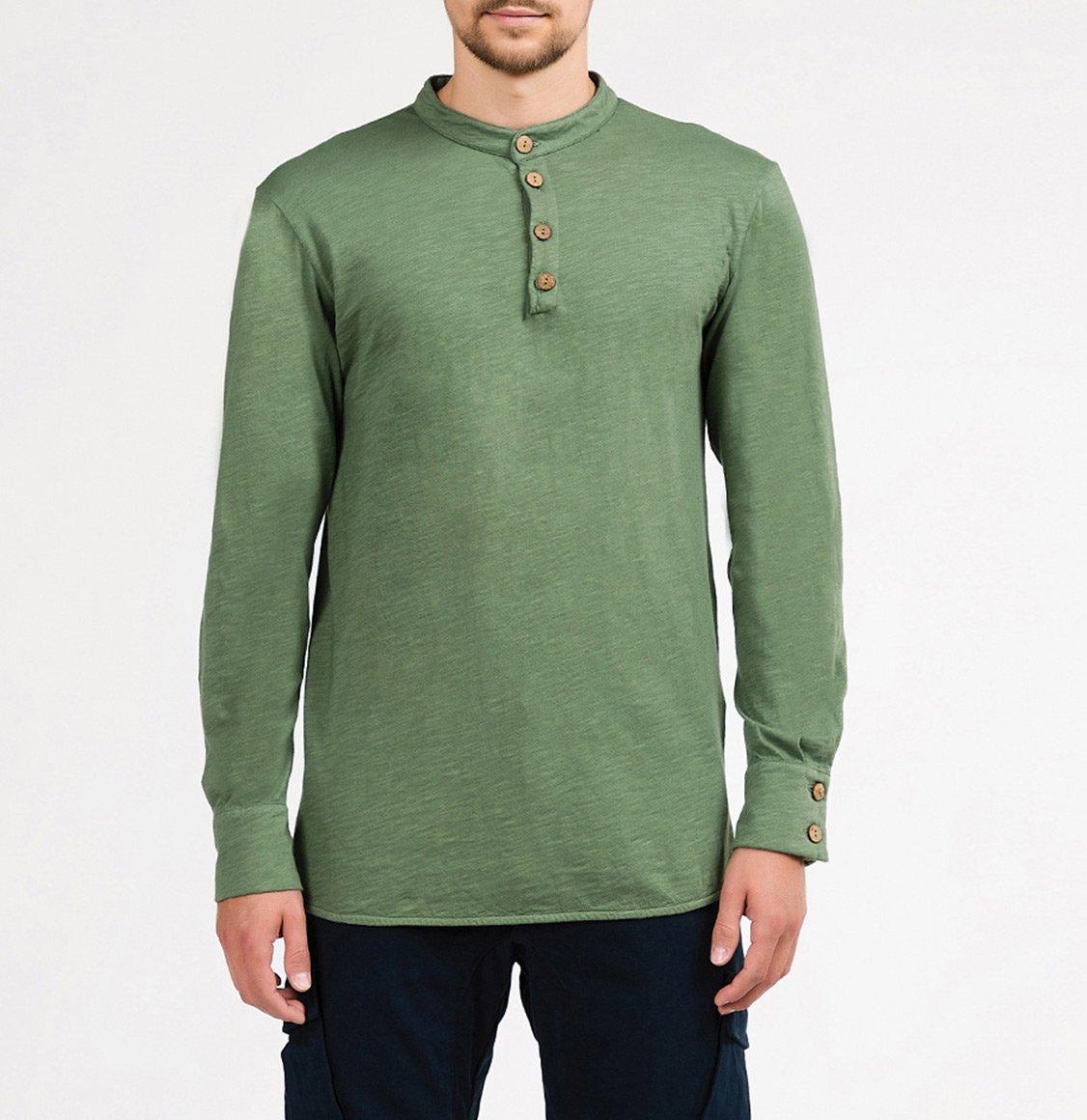 The Project Garments Henley Organic Cotton Slub Long Sleeve T-shirt Green