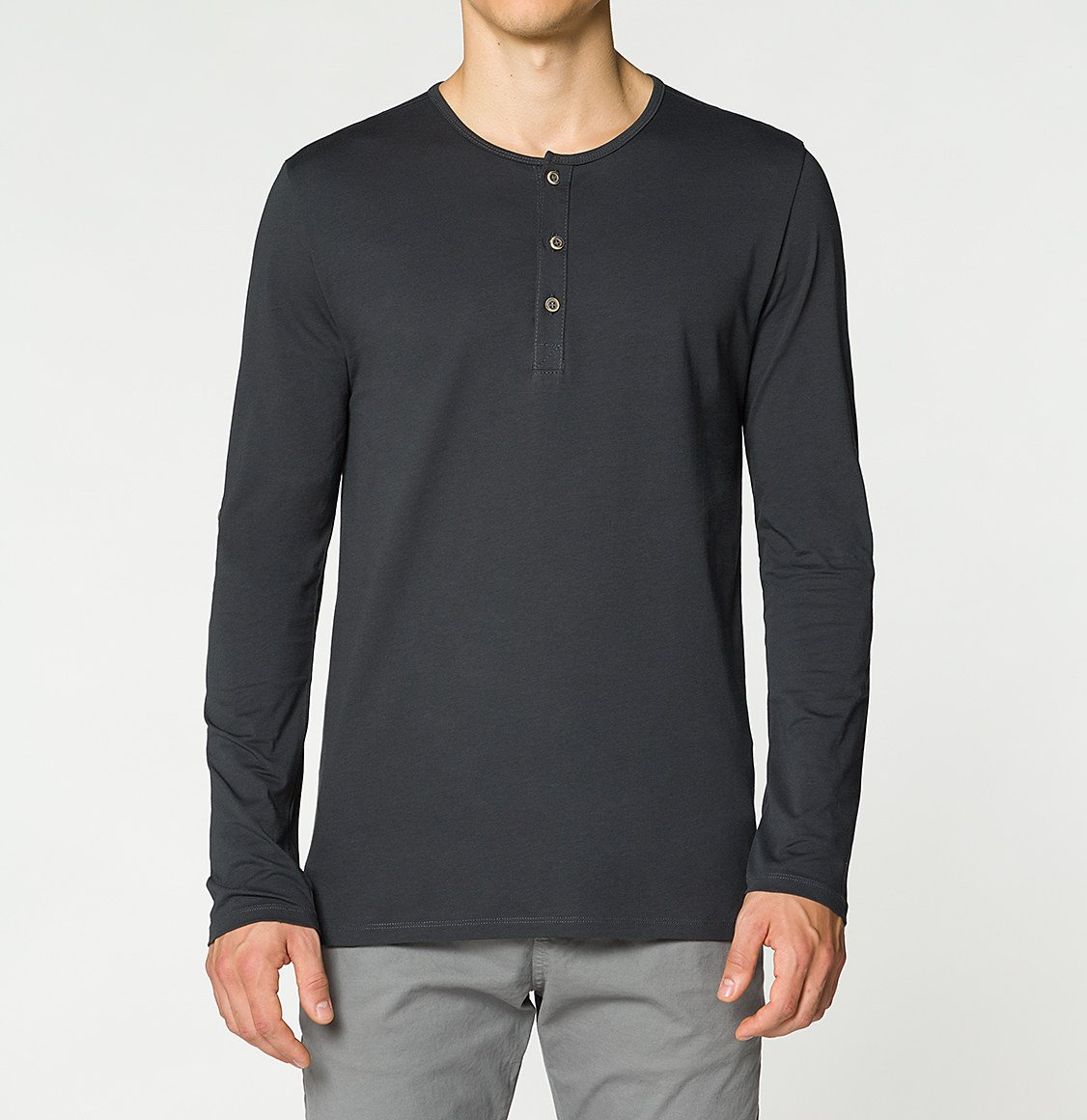 The Project Garments Henley Organic Cotton Long Sleeve T-shirt Asphalt Grey