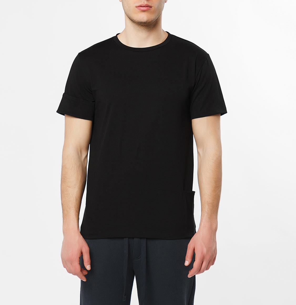 The Project Garments Roll Sleeve Crew Neck T-Shirt Black