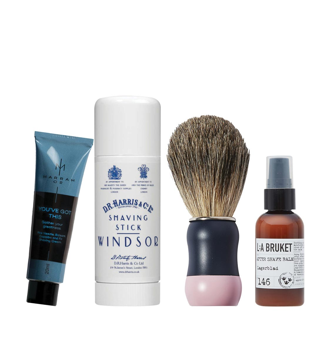 D R Harris Shaving Starter Pack | D R Harris Windsor Shaving Stick 40g | LA Bruket Aftershave Balm Laurel Leaf 60ml | Boar Bristle Brush | Marram Co Pine and Fir Shaving Cream 20ml
