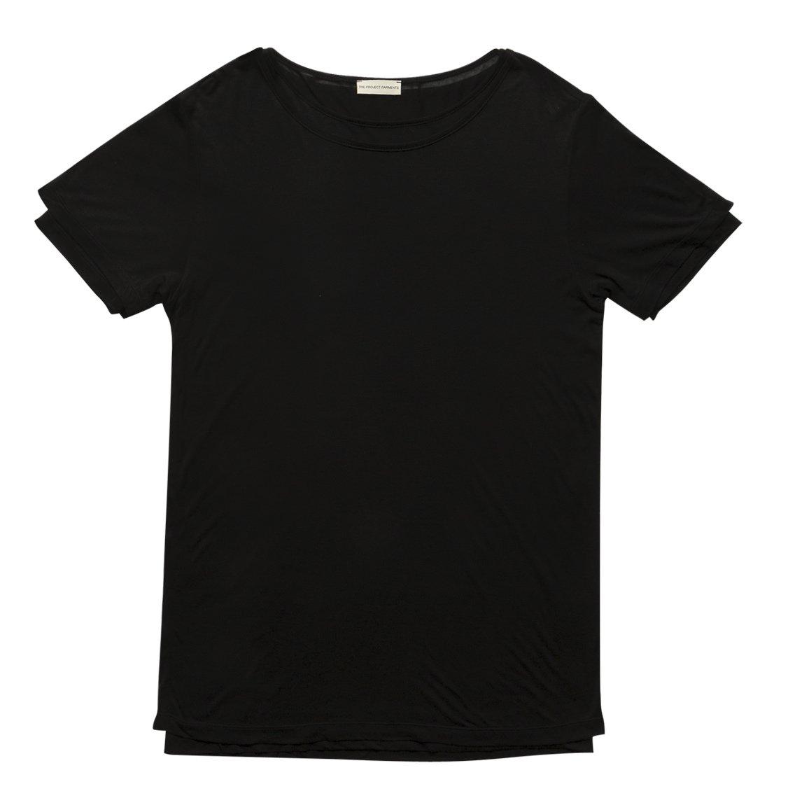 The Project Garments Silk Blend Double Crew Neck T-Shirt Black