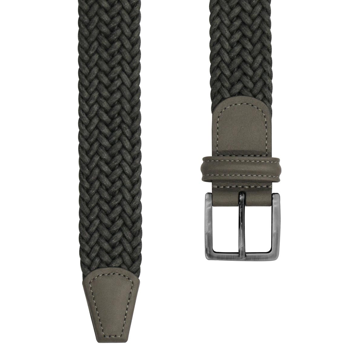 Anderson's Waxed Leather-Trimmed Woven Belt Grey