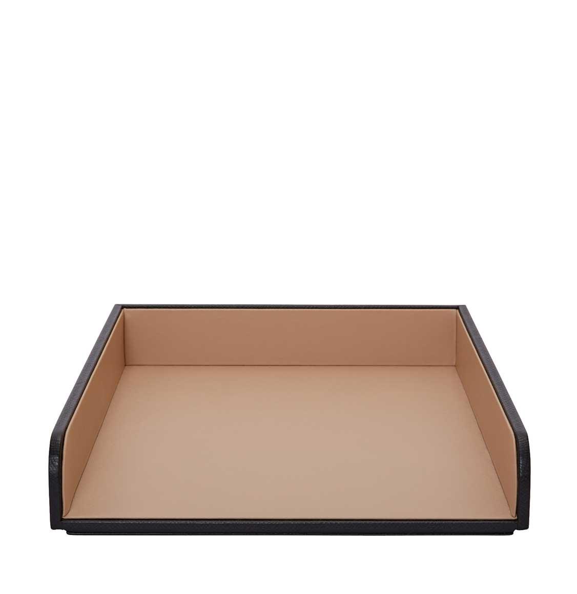 Smythson Panama Cross-Grain Leather A4 Paper Tray