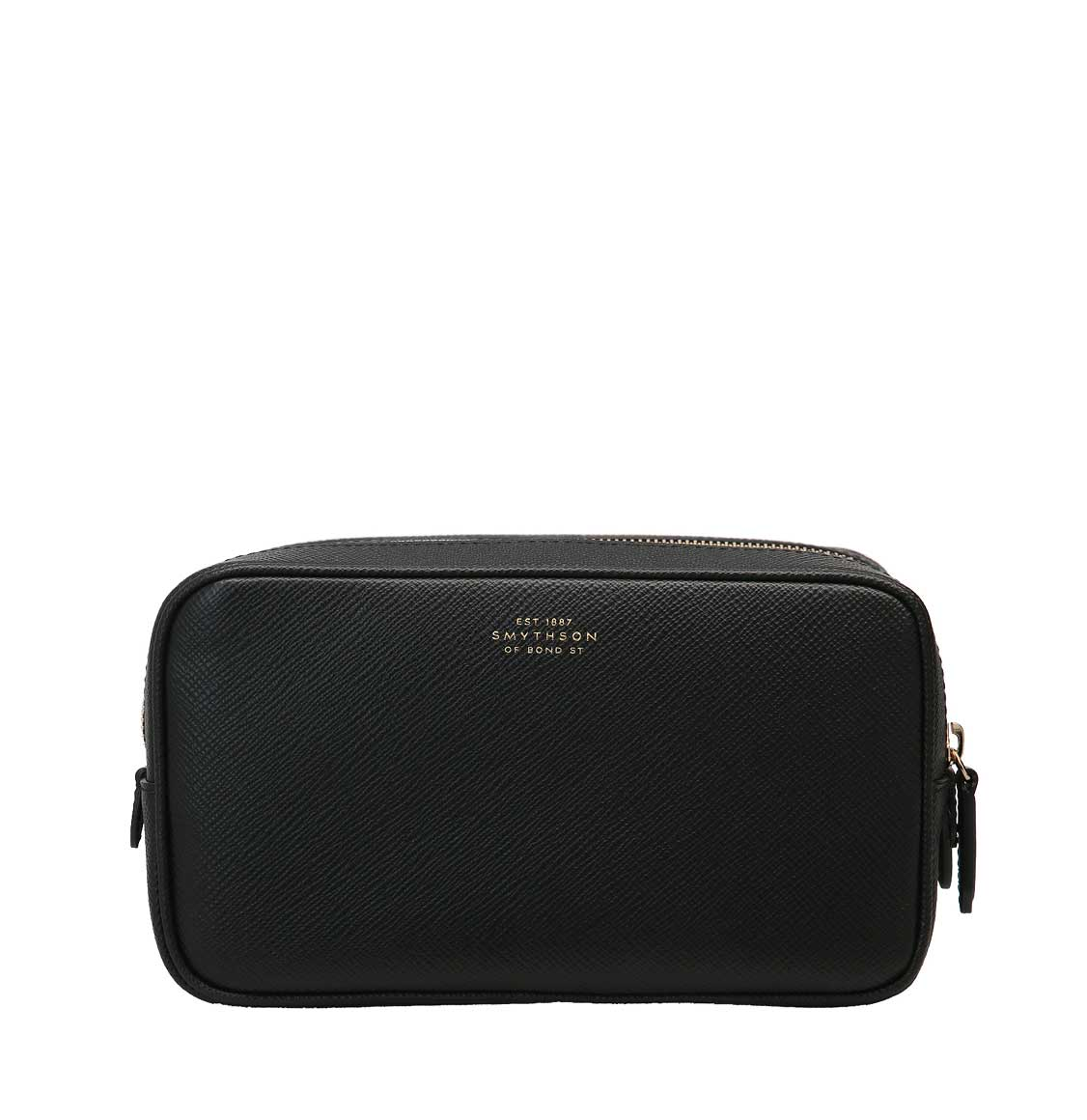 Smythson Panama Cross-Grain Leather Wash Bag Black