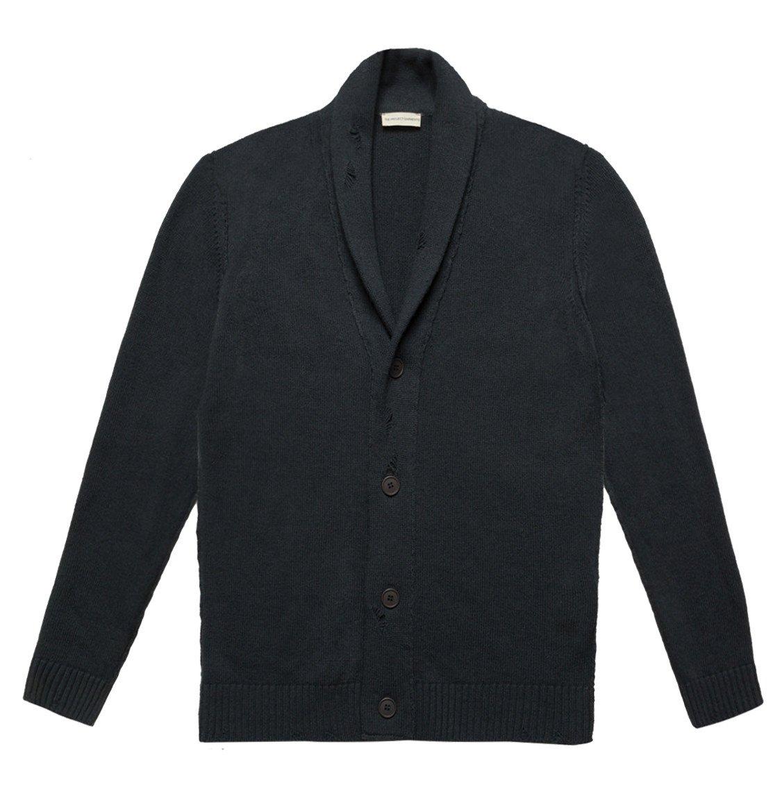The Project Garments Shawl Collar Distressed Cardigan Virgin Wool Grey