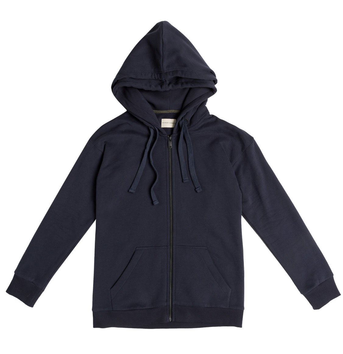 The Project Garments Organic Cotton Double Hooded Zip Up Navy Blue