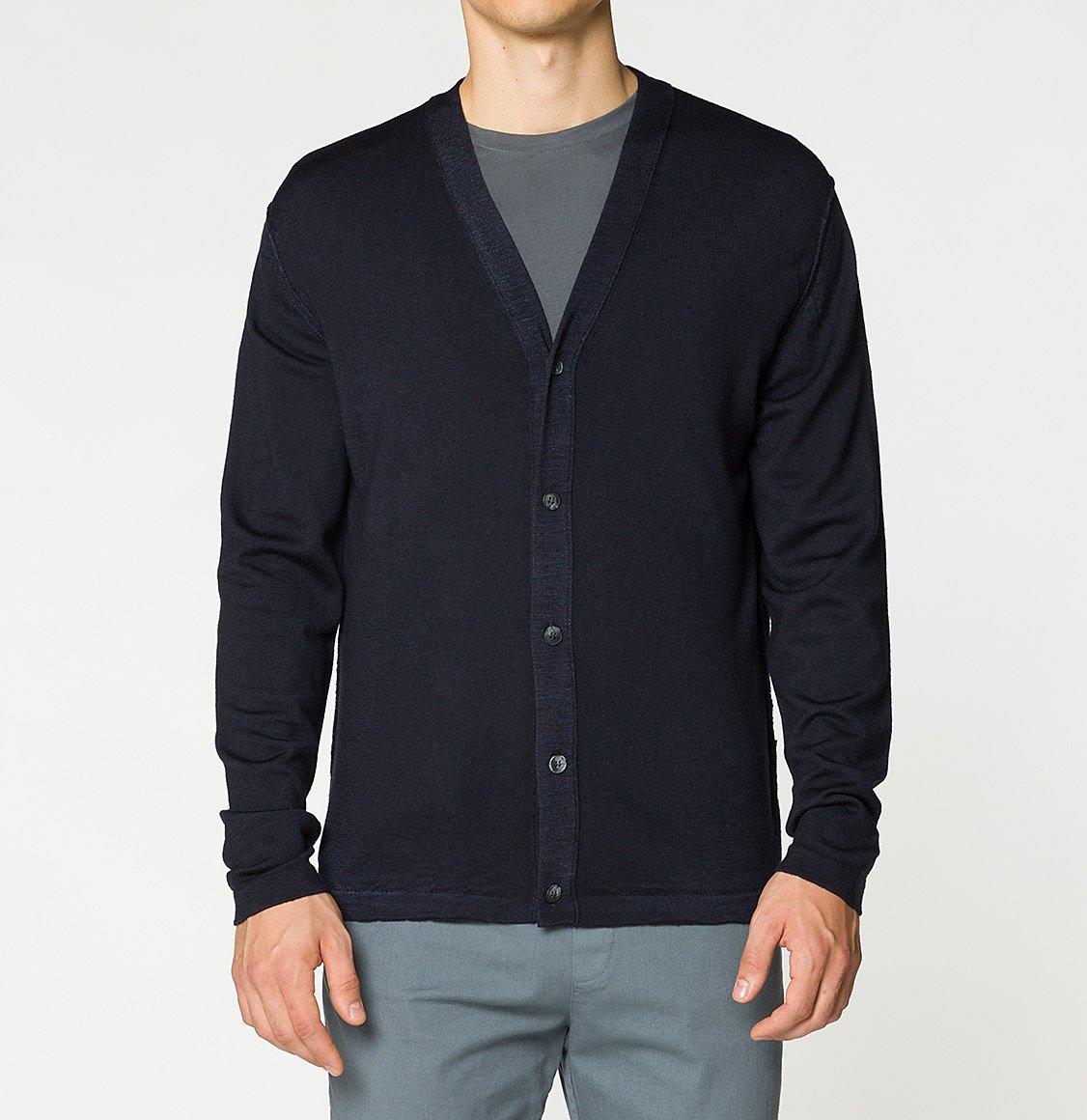 The Project Garments Virgin Wool Cardigan Navy Blue