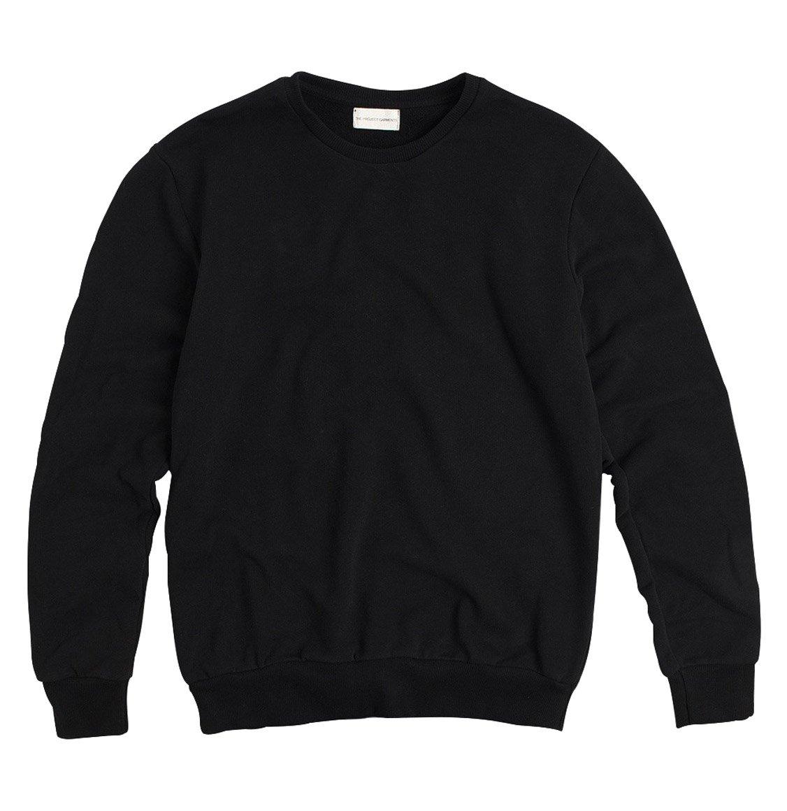 The Project Garments Crew Neck Organic Cotton Sweatshirt Black