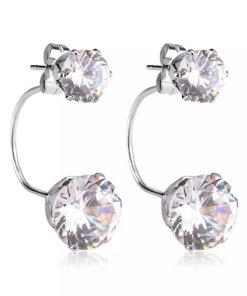 Ασημί σκουλαρίκια με διπλό ζιρκόν