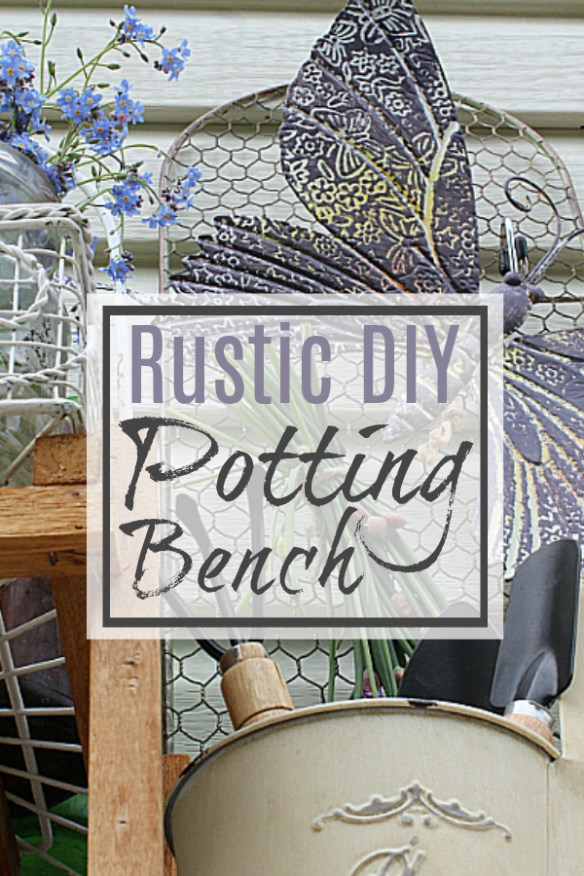 Rustic DIY Potting Bench (Old Table & a Shoe Rack)