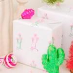 DIY \ Cactus Pom Pom Gift Wrap