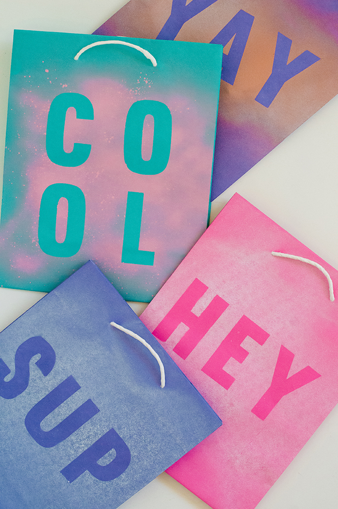 DIY Stenciled Gift Bags - PROPER