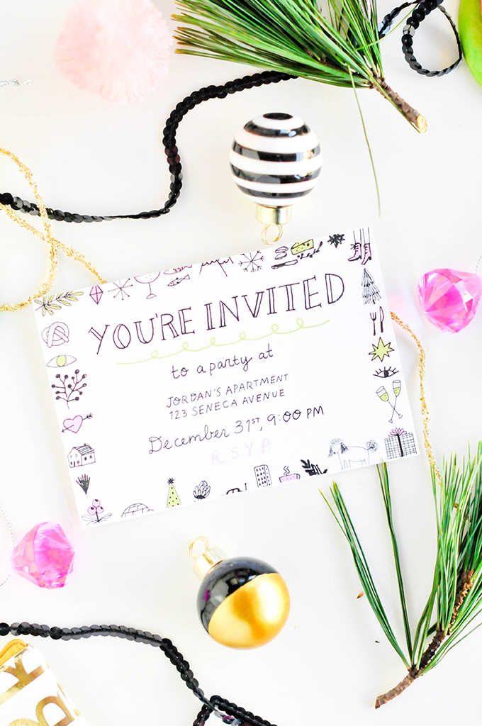 printable new years eve party invitation