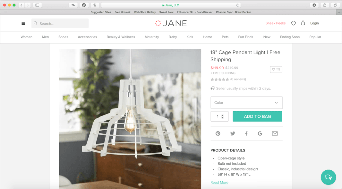screenshot of pendant at Jane.com