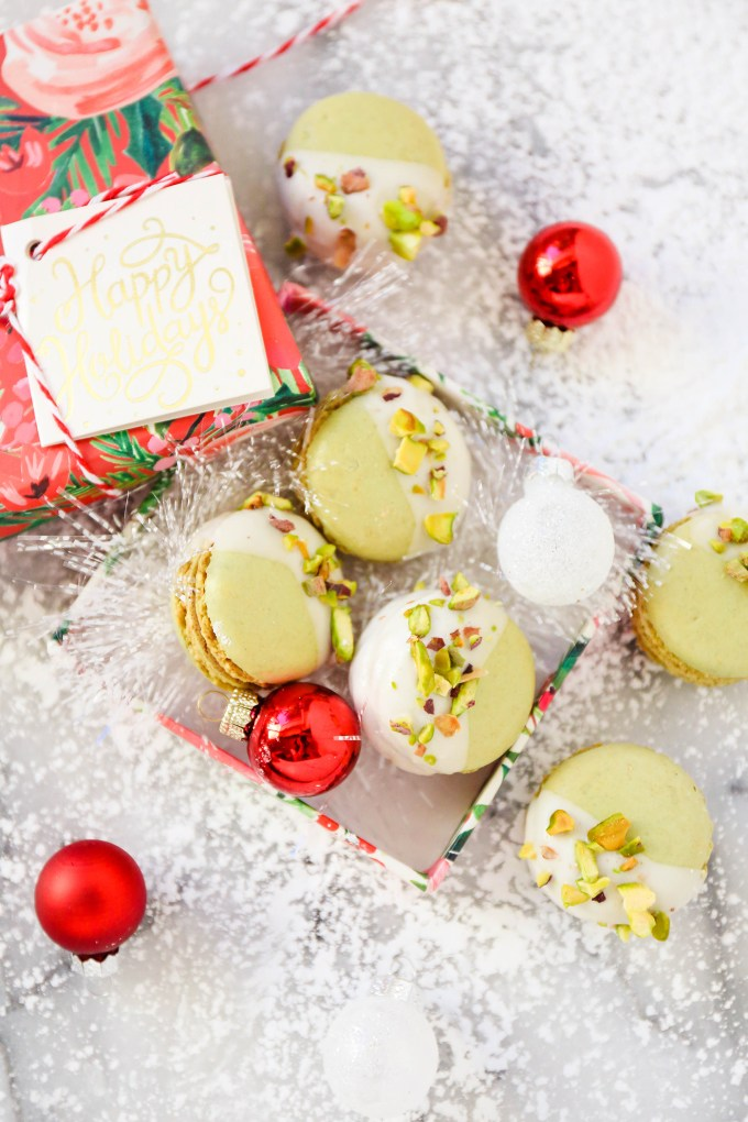 pistachio macarons on a christmas scene