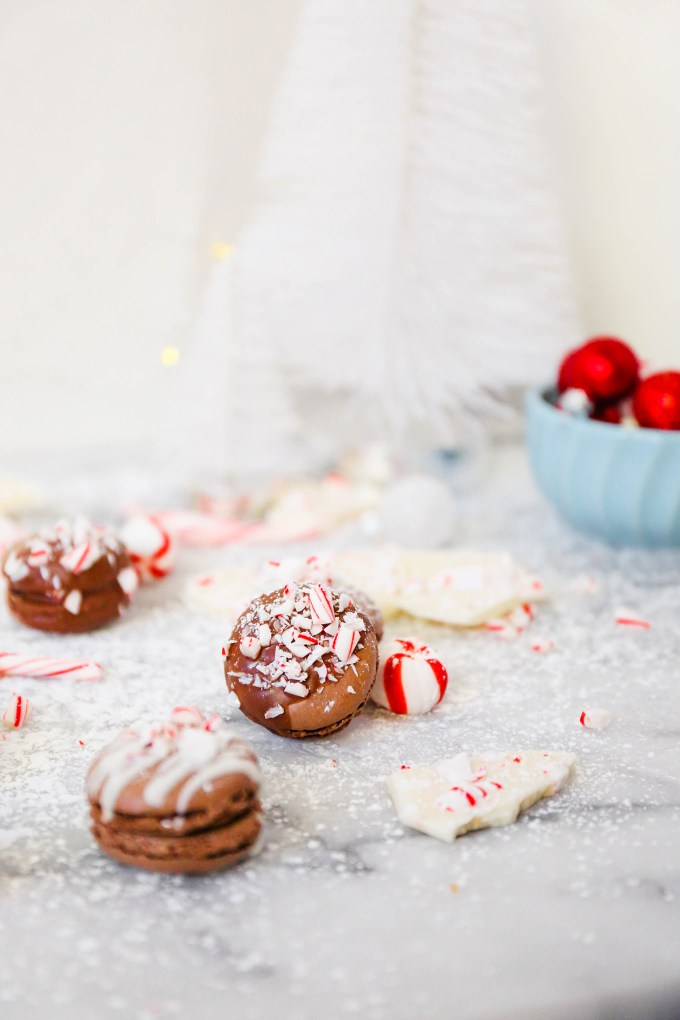 chocolate macarons with crushed peppermint