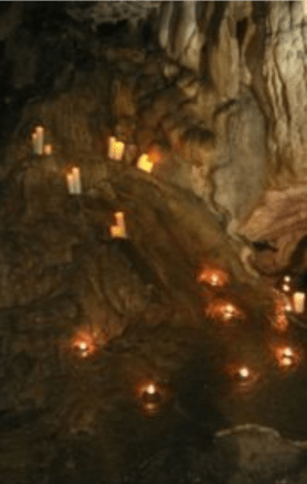 Hundreds of candles made the whole cave glow
