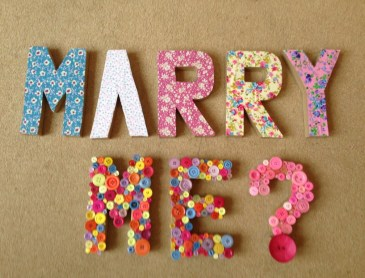 Our beautiful handmade Marry Me letters