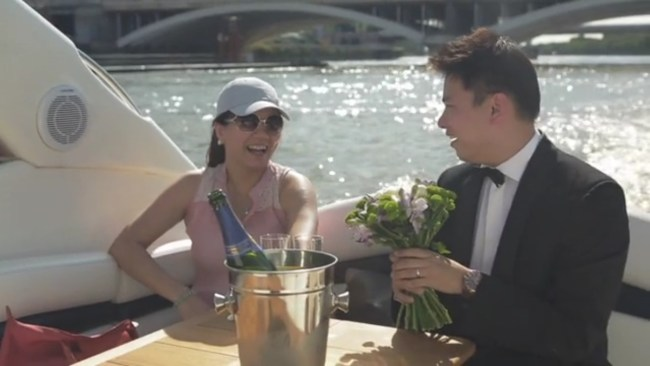 Marriage proposal on James Bond's speed boat along the River Thames