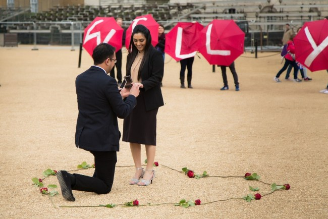 Umbrella Marriage Proposal in front of Horse Guards Parade