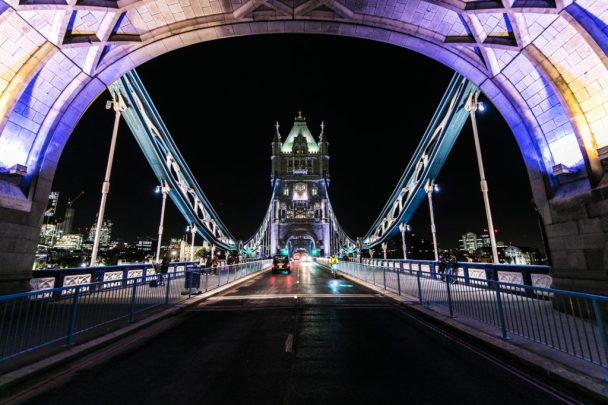 Exterior of Tower Bridge at night