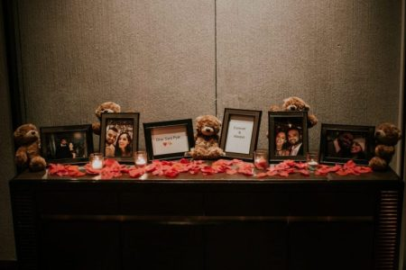 photos, teddies and rose petals