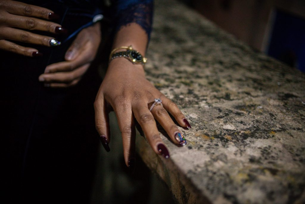 Amazing engagement ring glistening amongst the bath ruins