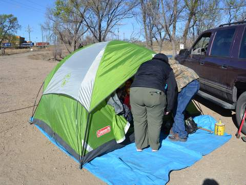 Boy Scout Tent Provides Shelter from the Wind