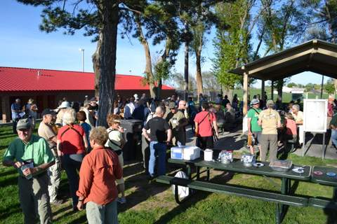 Crowd Congregates for Willow Creek Park BBQ