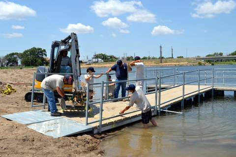 Securing the Land Dock to the Floating Deck