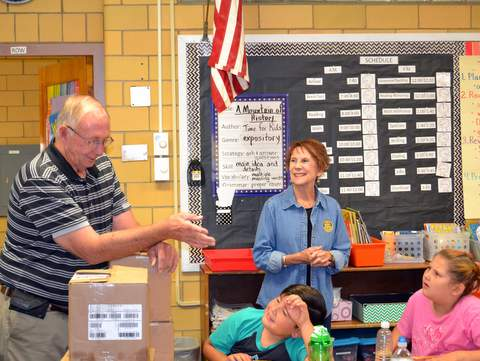 Lamar Rotarian Judy Turpin Explains the Donation to Parkview Students
