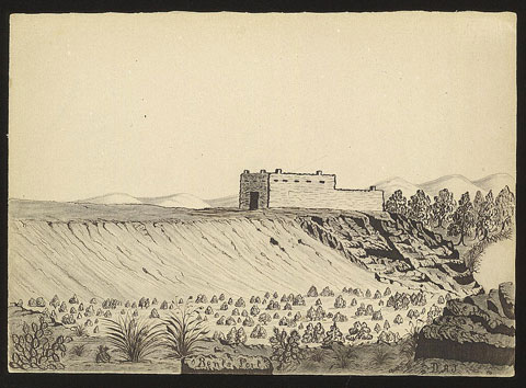 """Daniel Jenks traveled to Colorado territory in 1859 in search of gold. While there, he made this sketch of Bent's New Fort, which is one of the earliest known images of the fort."" Photo courtesy Library of Congress, Prints and Photographs Dept."