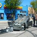 Collision Flips Car on North Main Street