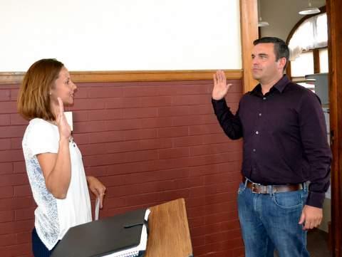 Jacob Holdren Receiving Oath of Office from Town Clerk Megan Jara