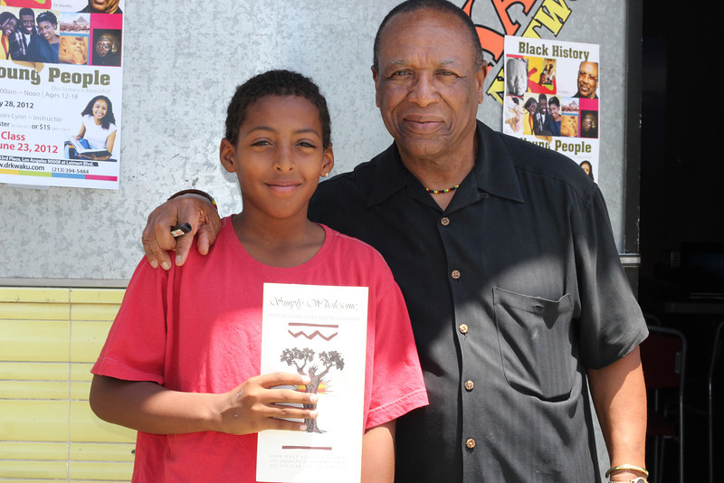 Keion Collins was the first winner of a free meal from Simply Wholesome, a great natural restaurant on Slauson and Overhill.  They have sponsored for the past 5 years. Congrats, Keion!