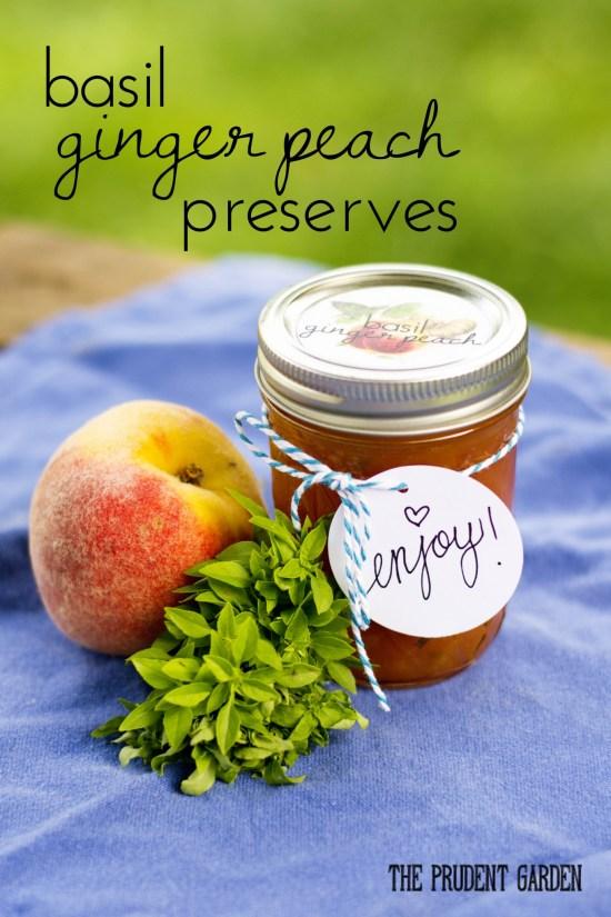 Basil Ginger Peach Preserves + Free Printable Labels